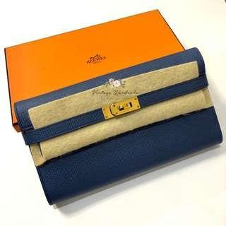 Authentic Hermes Kelly Wallet GHW Bleu Agate