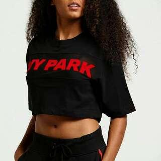 Ivy Park Sheer Flocked Crop Logo Tee