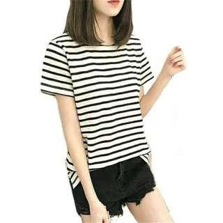 Kaos Lengan Pendek Salur Stripe Warna Putih