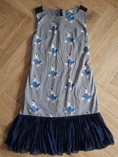 Pleated Navy Blue Dropwaist Dress with Japanese Prints
