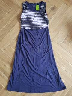 BNWT Spring Maternity Sleeveless Stripe Blue Maternity Dress
