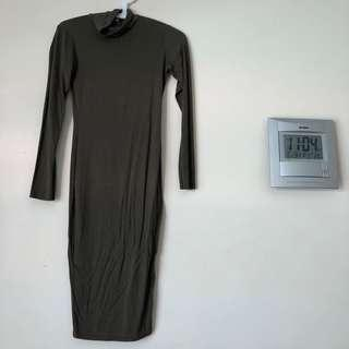 Khaki body-con dress