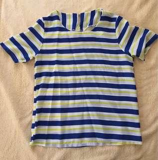 Blue and yellow-striped blouse