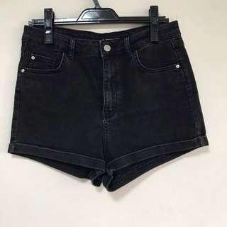 [PULL&BEAR] Black High Waisted Jeans Shorts
