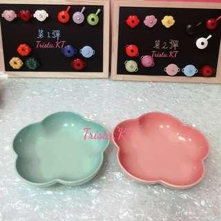 LE CREUSET Medium Flower Dish - 2pc (Green+Pink)