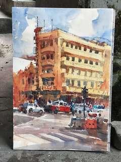 KL Street Watercolour Painting