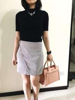 Button Foldover Wrap Skirt in Light Grey