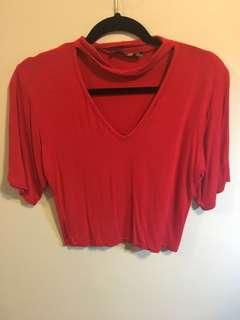 Red crop top with neck line