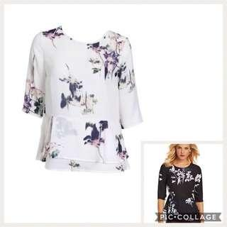 French connection floral peplum blouse