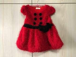 女童 短袖裙 (紅色)