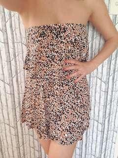 Mink Pink strapless ruffle dress animal print