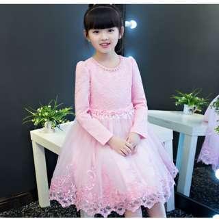 Pink Lace Princess Dress Long Sleeves Flower Girls Dress