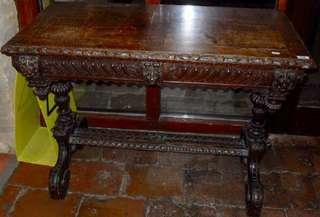 Antique carved oak Gothic Revival centre table