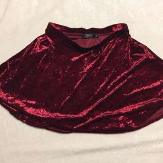Red Velvet Material Skirt