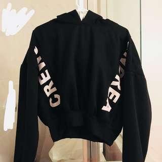 black cropped loose puffy hoodie