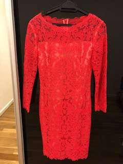 Sara joe red embroidered dress