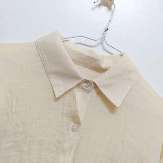🚚 全新 有瑕疵輕薄款長版罩衫(米黃)#半價衣服市集