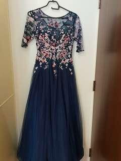 Mother of the bride embroidery pearl evening gown