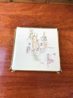 """Villeroy and Boch kitchen hot stand tile 1960s ( 4x4""""in)"""