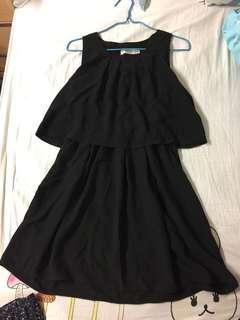 斯文裙 背心裙 全黑 假兩件 扎腰