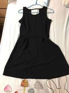 背心裙 全黑 小露背