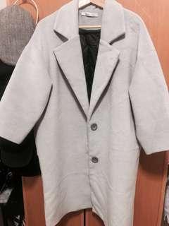 灰色毛呢長版落肩大衣外套