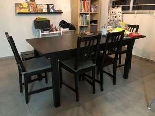 Bjursta dining table + 4 chairs + bench