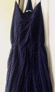 Dark Blue Dress with polka dots stars (red)