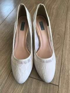 White Lace Heels for sale