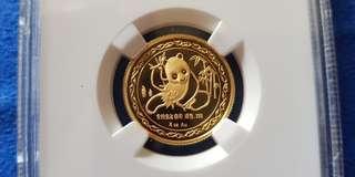 1989 China New York Expo 1/4 Oz Gold Panda Coin - MS68