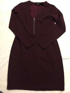 DYNAMITE Zip-Up Maroon Dress