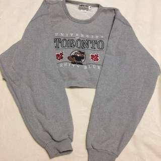 Vintage Cropped UNIVERSITY OF TORONTO Crew Neck Sweater