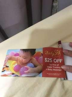 Babyspa $25 off voucher for 1st trial of water training + baby massage