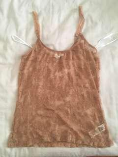 Nude Rose color Lace Top Tank Camisole Singlet Sexy Lingerie Forever 21 Size S #BlackFriday100