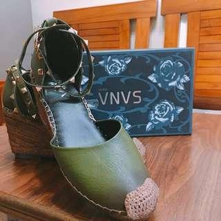 專櫃美鞋 楔型鞋 38號 綁帶 墨綠美鞋 23.5 24 24.5