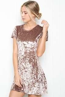 Brandy Melville Velvet Meari Dress in Champagne Pink