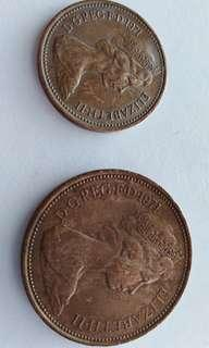 1971 2 new pence and 1 new penny