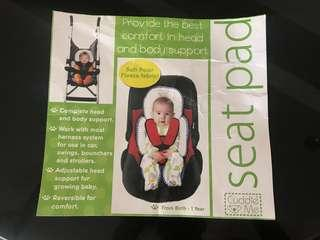 Baby seat reversible pad and head support