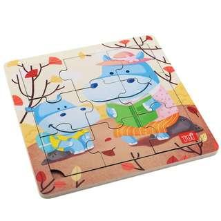 TOI Wooden Puzzle Educational Toy Hippo Puzzle