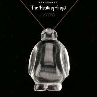 🚚 The Healing Angel Clear Quartz Crystal Pendant(22x33mm Thickness 15mm) - Clear Quartz naturally flashes colours of the Rainbow, that brings Good Luck & also known as A symbol of Magical Blessings.