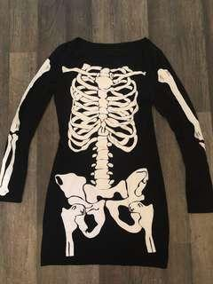 unbranded skeleton print long sleeved dress halloween