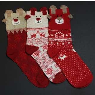 Christmas Socks - Red Cartoon