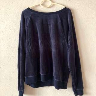 🚚 Basic Blue Velvet Oversized Pullover