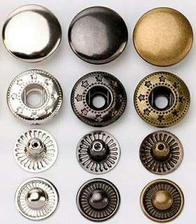 包郵 10組 四合扣 633型號 純色 12mm 鈕扣 圓形 銅色 銀色 槍色 金屬配件 子母扣 暗扣 皮革 布藝 皮藝 拍鈕