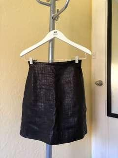 H&M Genuine Black Leather A Line Skirt