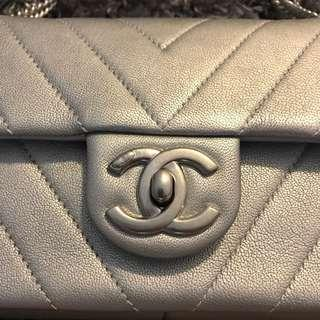 Chanel Bag Mini Seasonal Flap - space matte silver ( perfect for wkends or evenings or Xmas parties !!!)