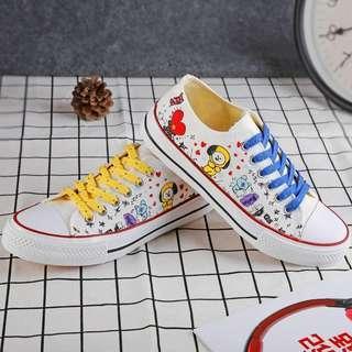 BTS BT21 Cute Canvas White School Shoe / Sneakers
