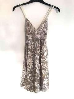 Blockout Gold Metallic Silk Mini Dress
