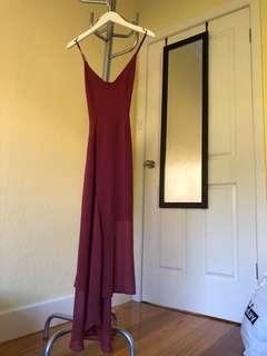KEEPSAKE THE LABEL Red Wine Maxi Chiffon Cami Dress