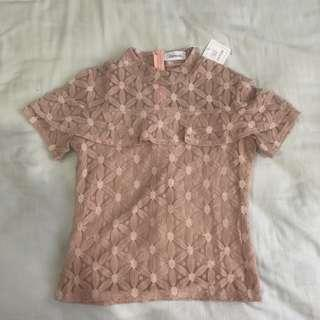 NEW! Dusty Pink Lace Top (Free Size, stretchable)